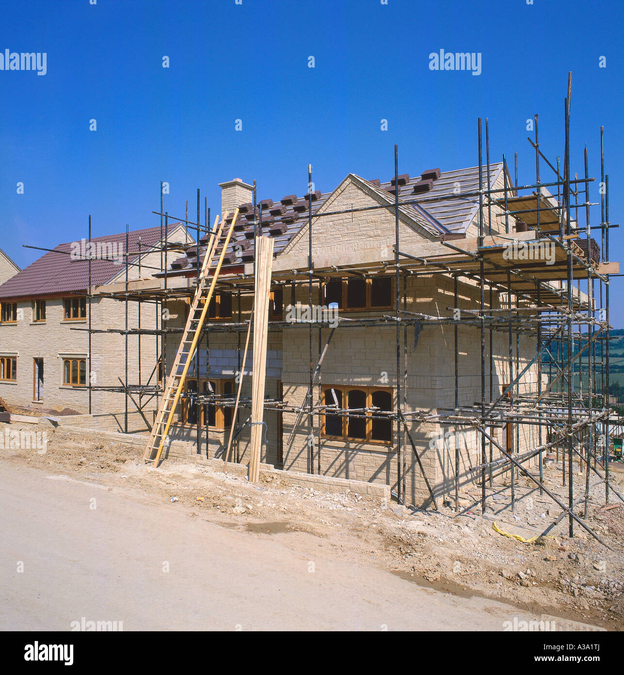New Houses under Construction UK Norfolk - Stock Image