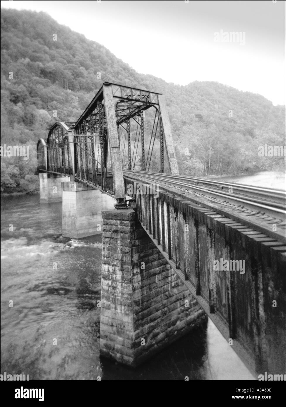 Railroad bridge over the new river in west virginia black and white