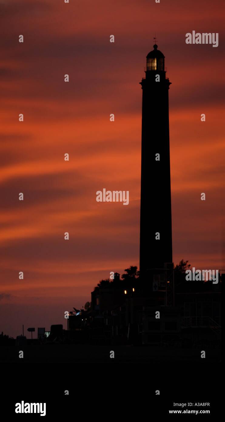 The light tower in Maspalomas on Gran Canaria. Stock Photo