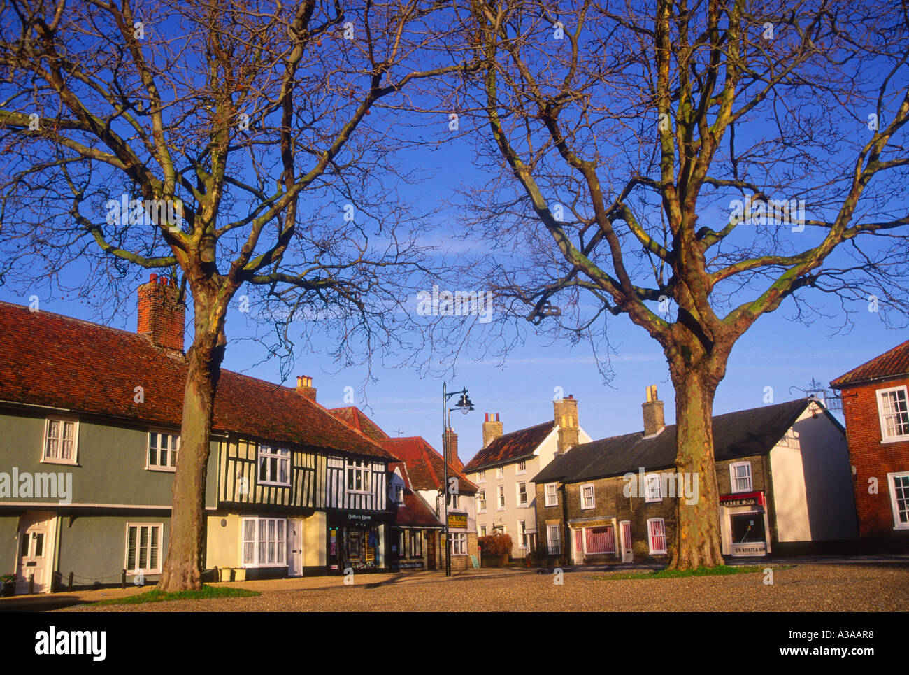 Buildings and trees Market Square Wickham Market Suffolk England - Stock Image