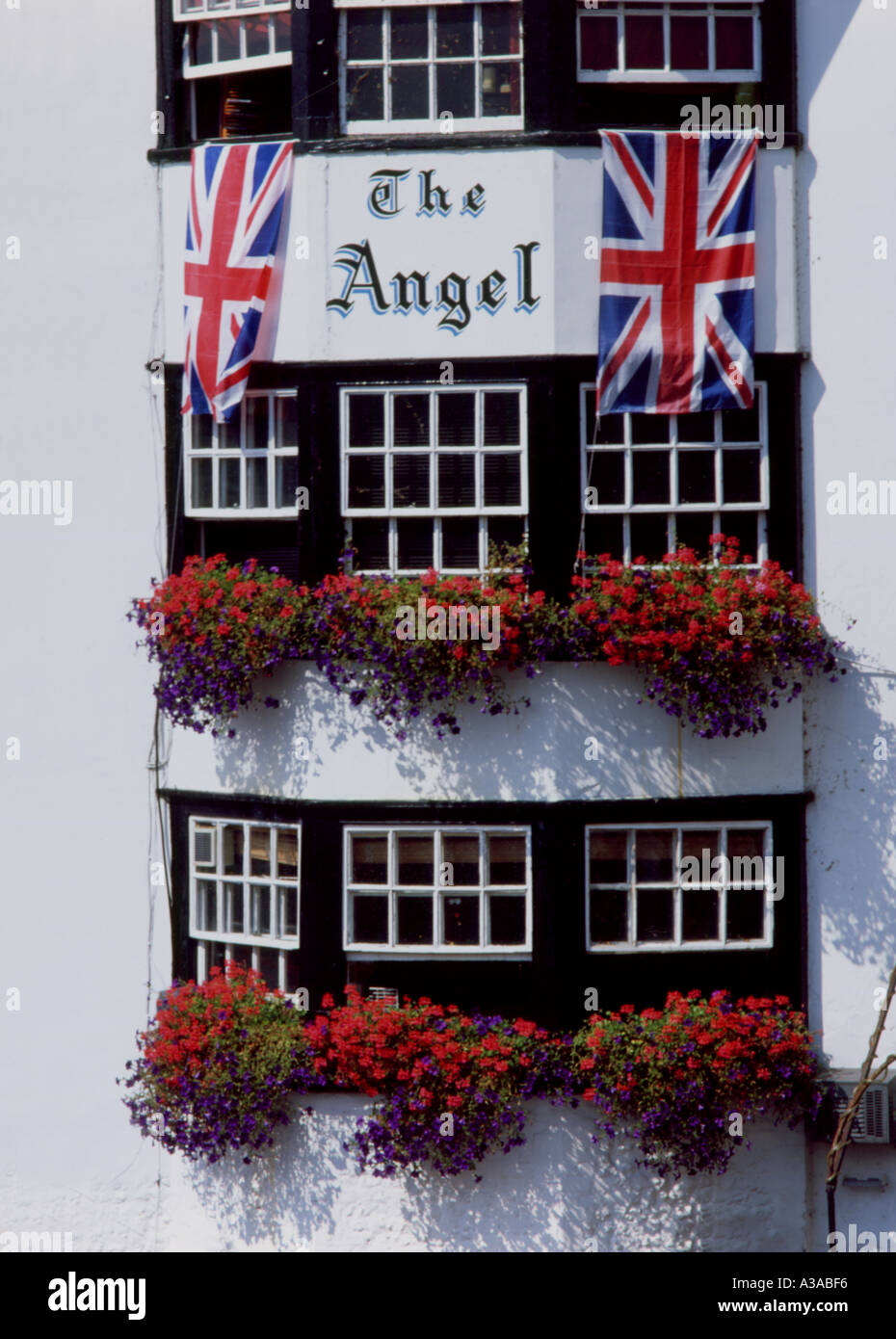 England Pub with flags - Stock Image