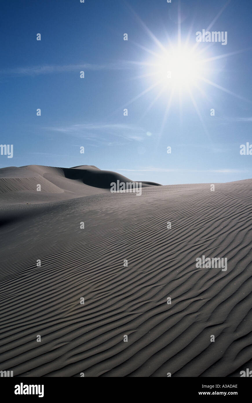 Desert sand dunes with sun rays in southwestern United States ...