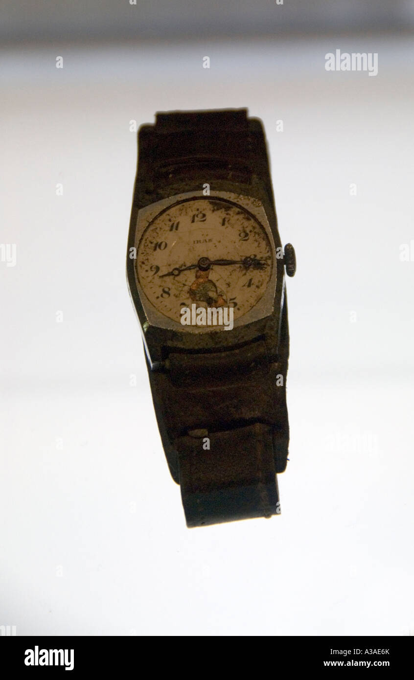 Watch in Peace Memorial Museum, Hiroshima Japan, Stopped at exact moment of bomb blast 8.15,  August 6th 1945 - Stock Image