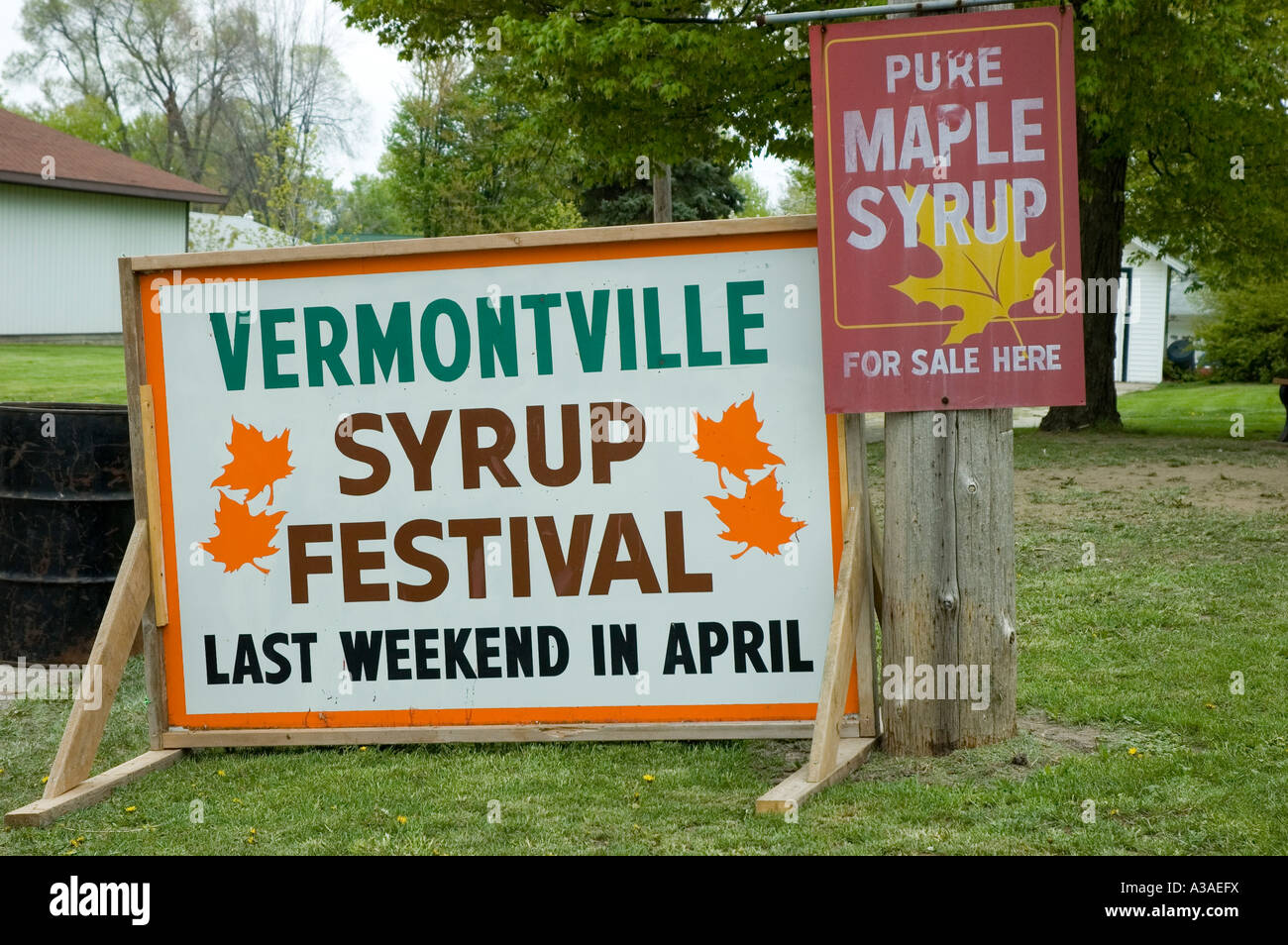 Maple Syrup Festival Signs Vermontville Michigan USA