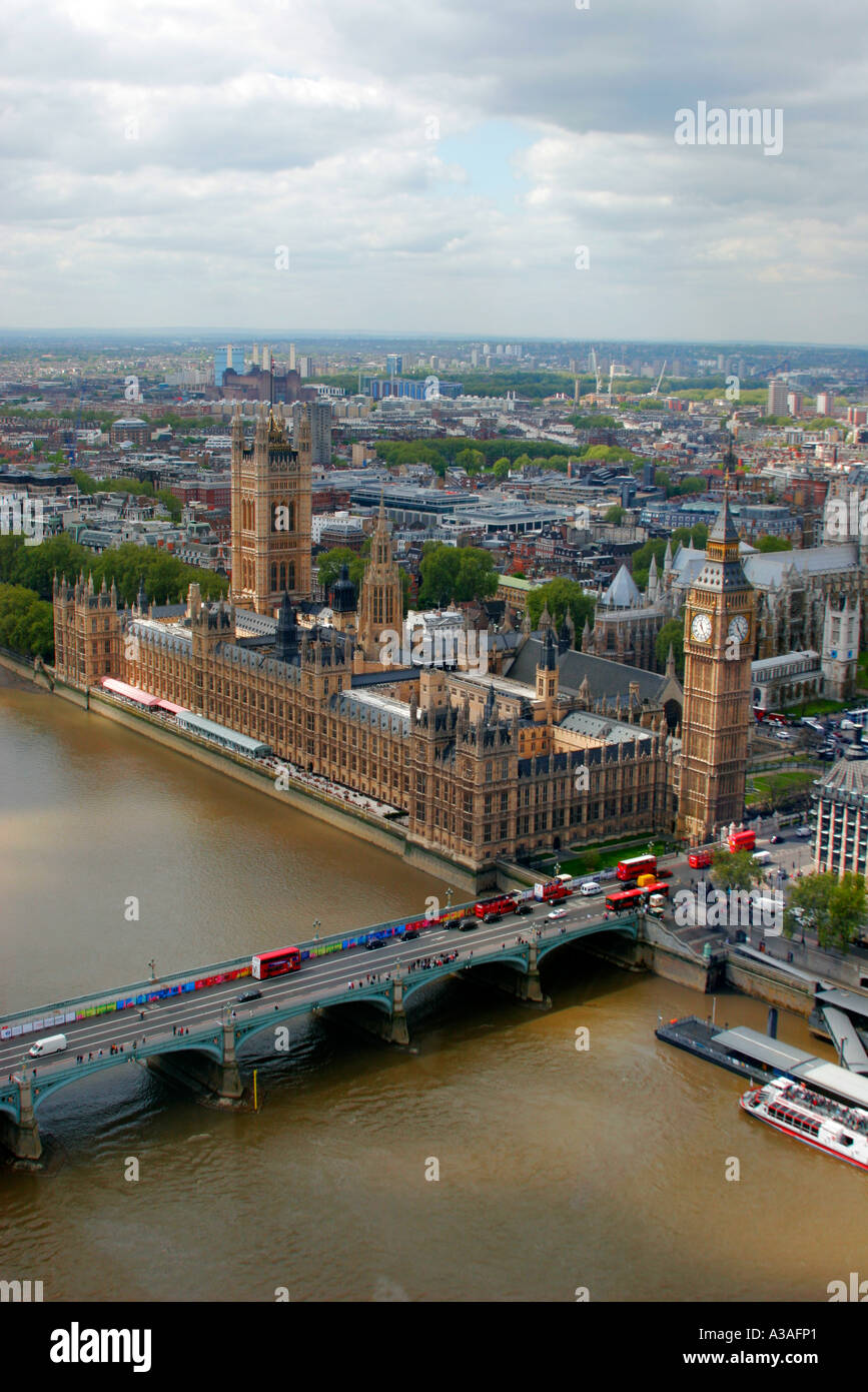 The Houses of Parliament Palace of Westminster and Thames river London UK Stock Photo