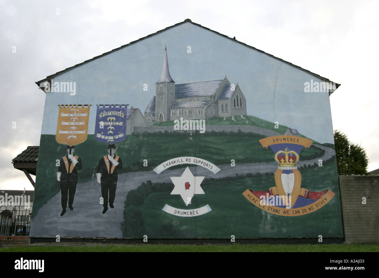 loyalist orange man drumcree wall mural shankill road belfast northern ireland - Stock Image