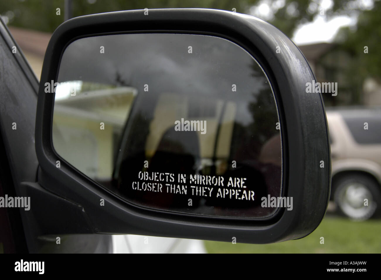 Objects In Mirror Warning On Rear View 4 - Stock Image