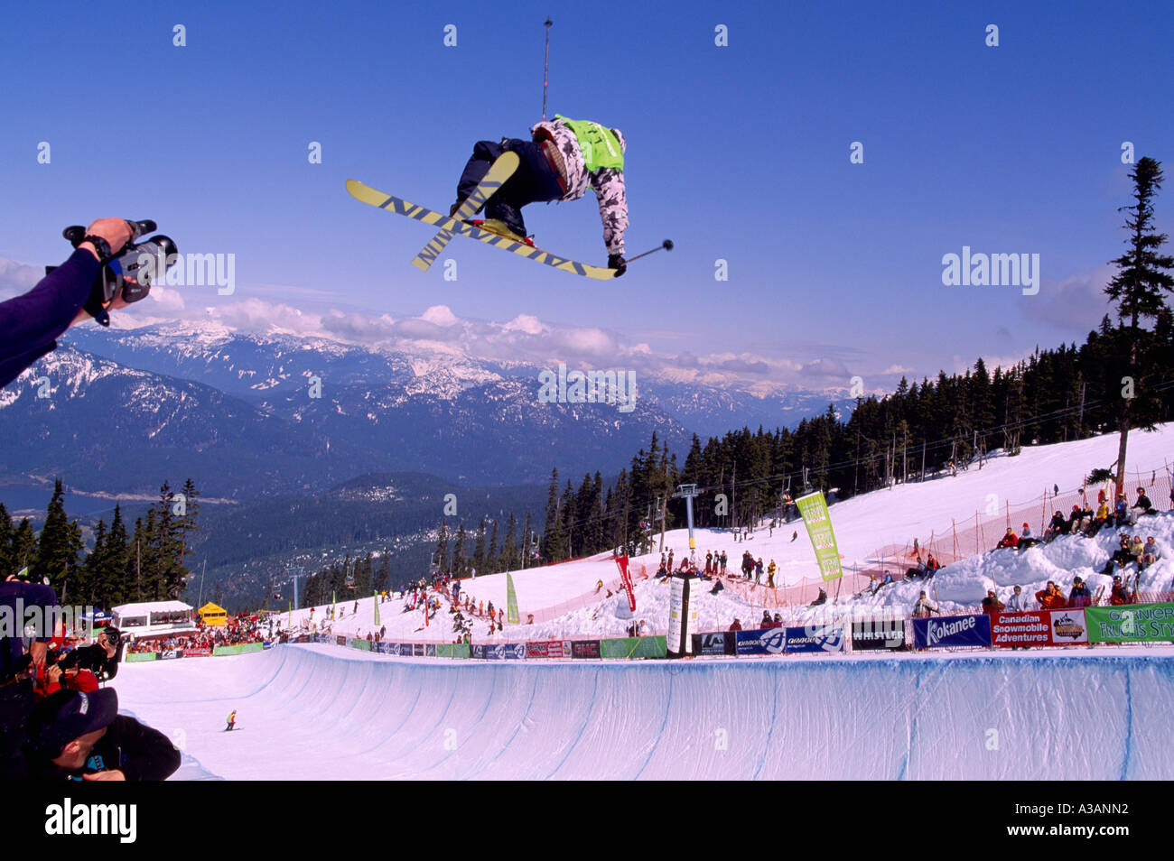 Whistler, BC, British Columbia, Canada - A Freestyle Skier competing at Superpipe Competition at Halfpipe on Blackcomb Mountain - Stock Image