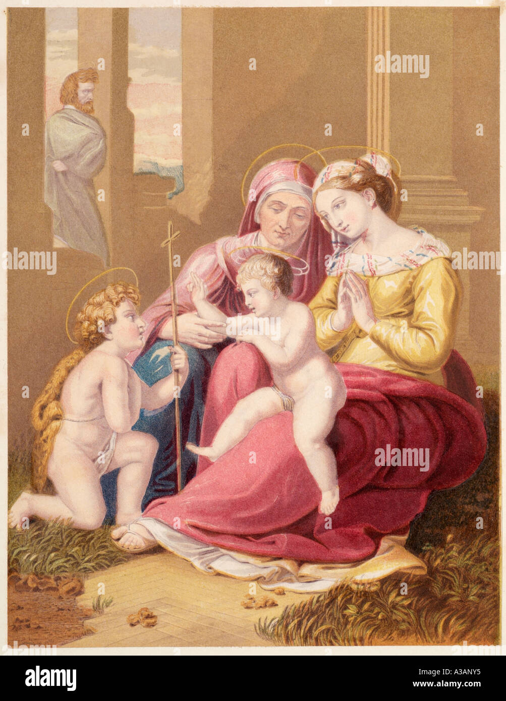 Baby Jesus Christ Mary Joseph oil colour adore worship divine New Testament bible biblical story preach holy Christian religion - Stock Image