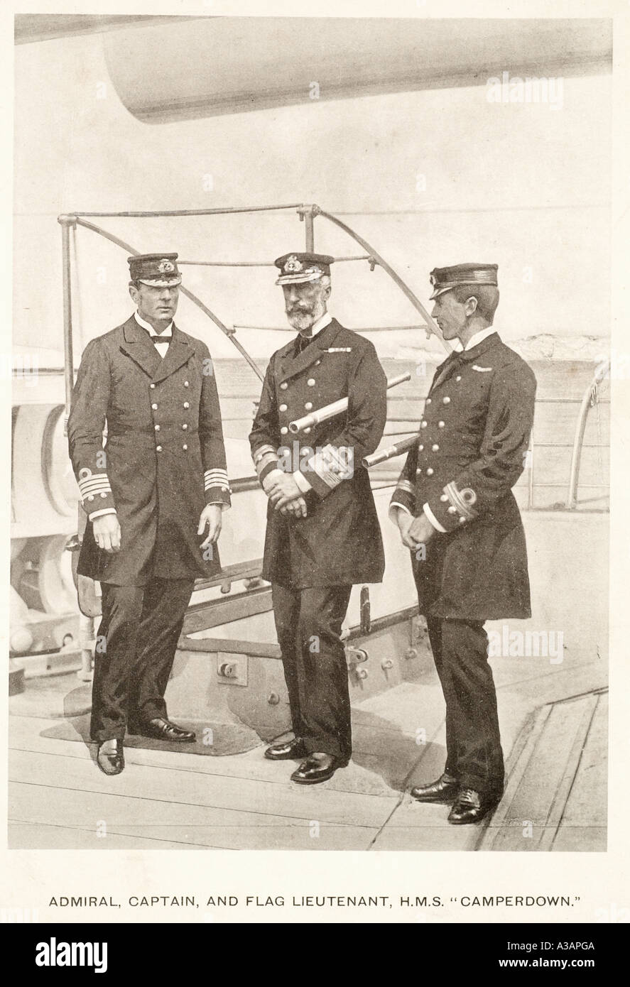 Admiral captain flag lieutenant h m s Camperdown navy naval uniform telescope deck battleship British Royal fleet sailor command - Stock Image