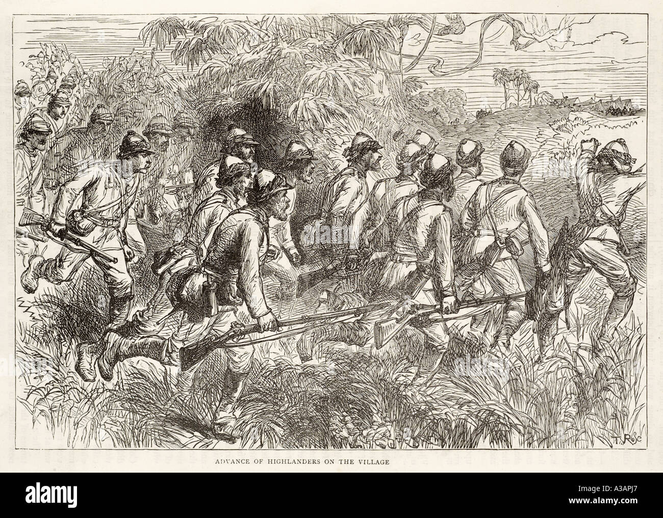 highlander Battle of amoaful 1874 ashantee ashante Africa war history soldier military jungle forest native rifle troop expediti - Stock Image