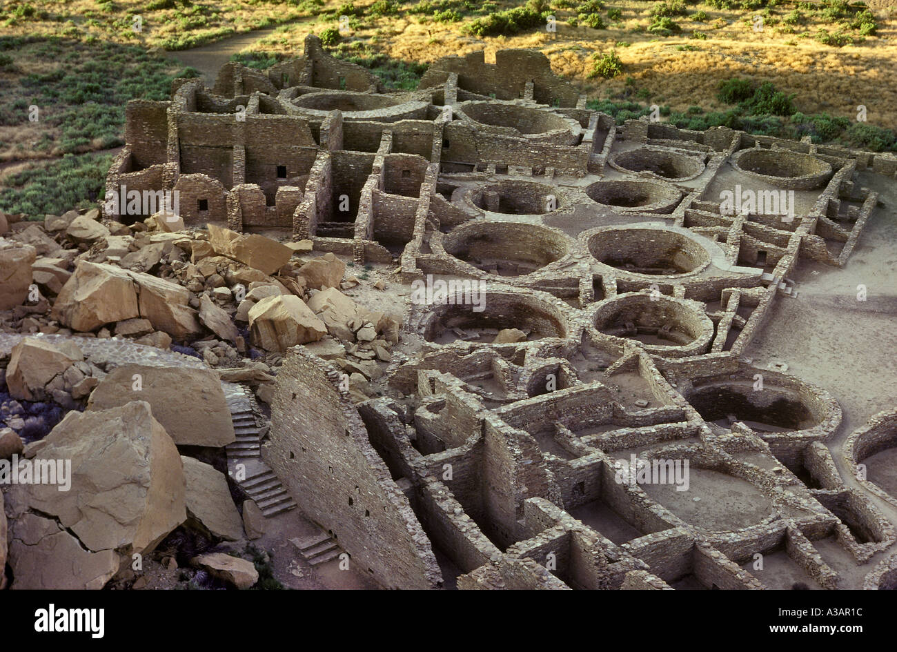 Pueblo Bonito Anasazi Indian Ruins Chaco Canyon National Historical Park New Mexico - Stock Image