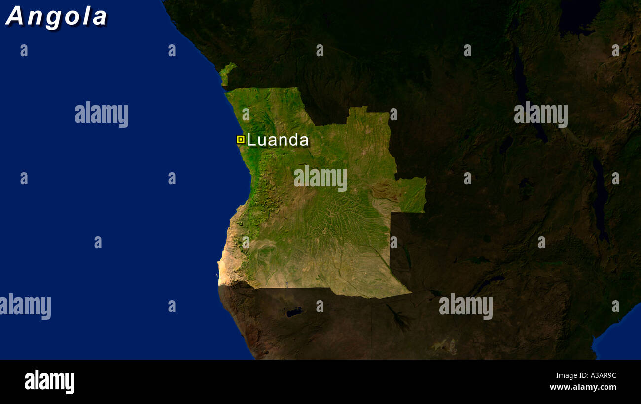 Satellite Image Of Angola With Luanda Highlighted - Stock Image