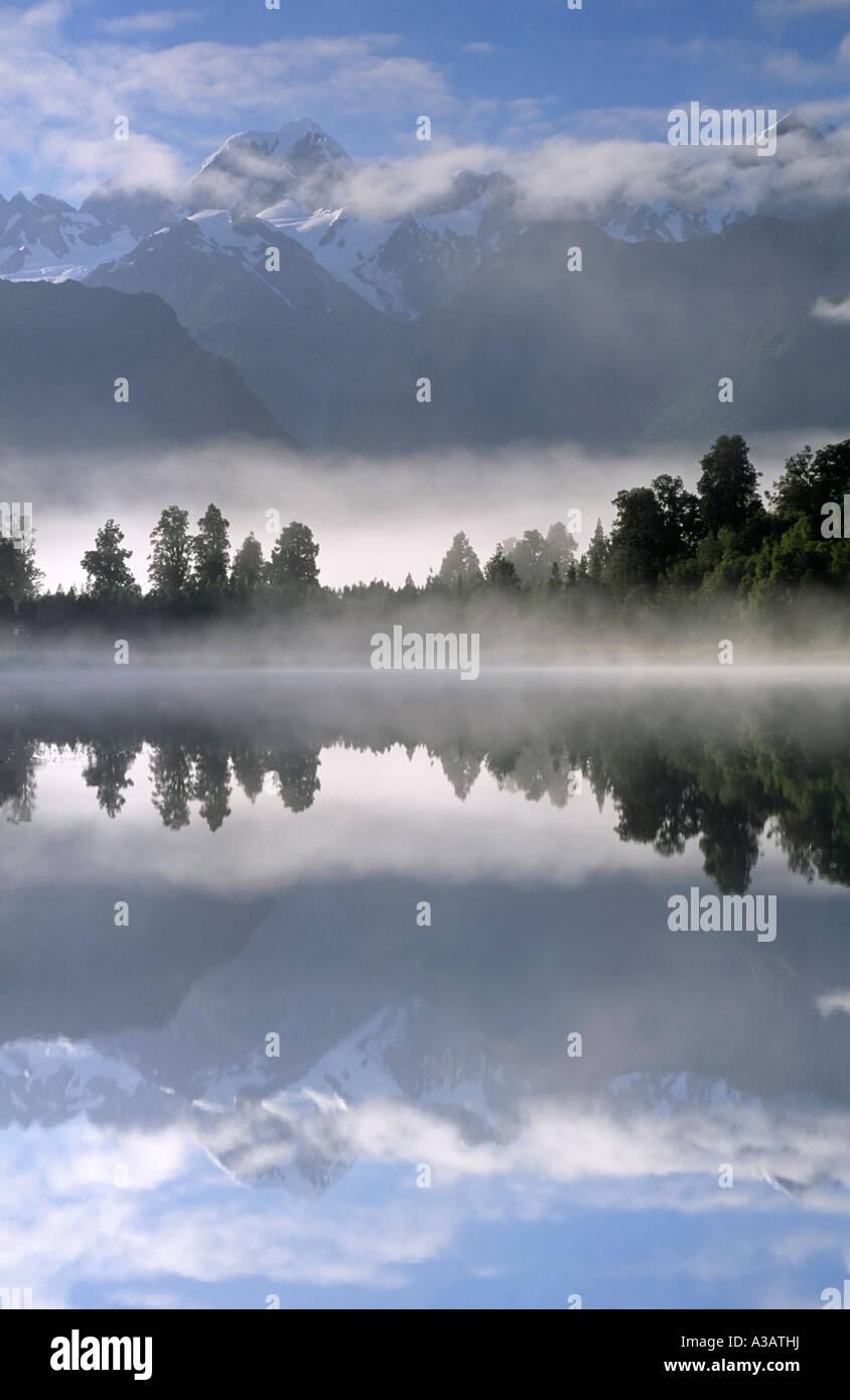 Lake Matheson Westland Tai Poutini National Park West Coast South Island New Zealand - Stock Image
