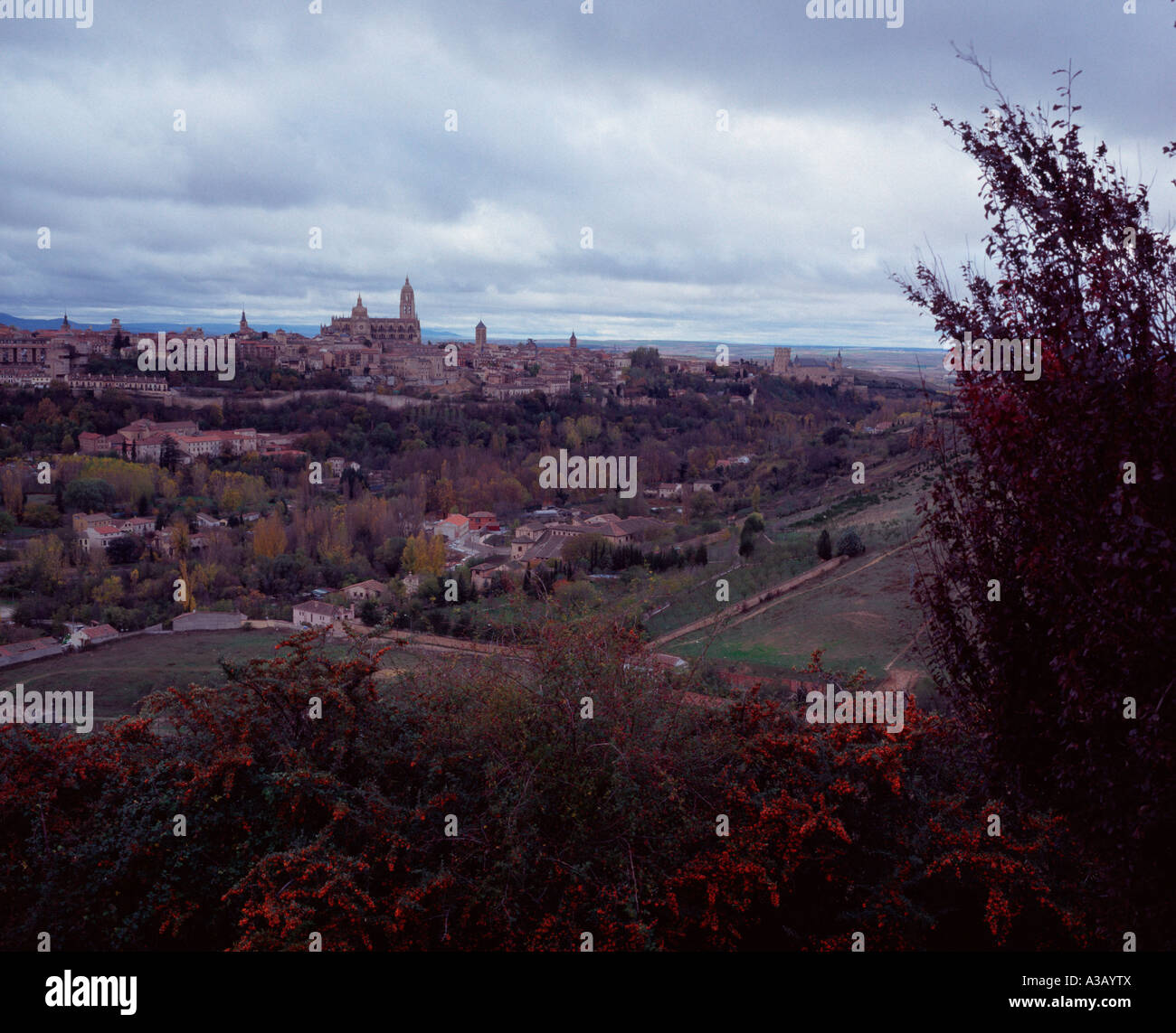 View over the Segovian countryside and Castillian plain from the Parador, Segovia, Spain Stock Photo