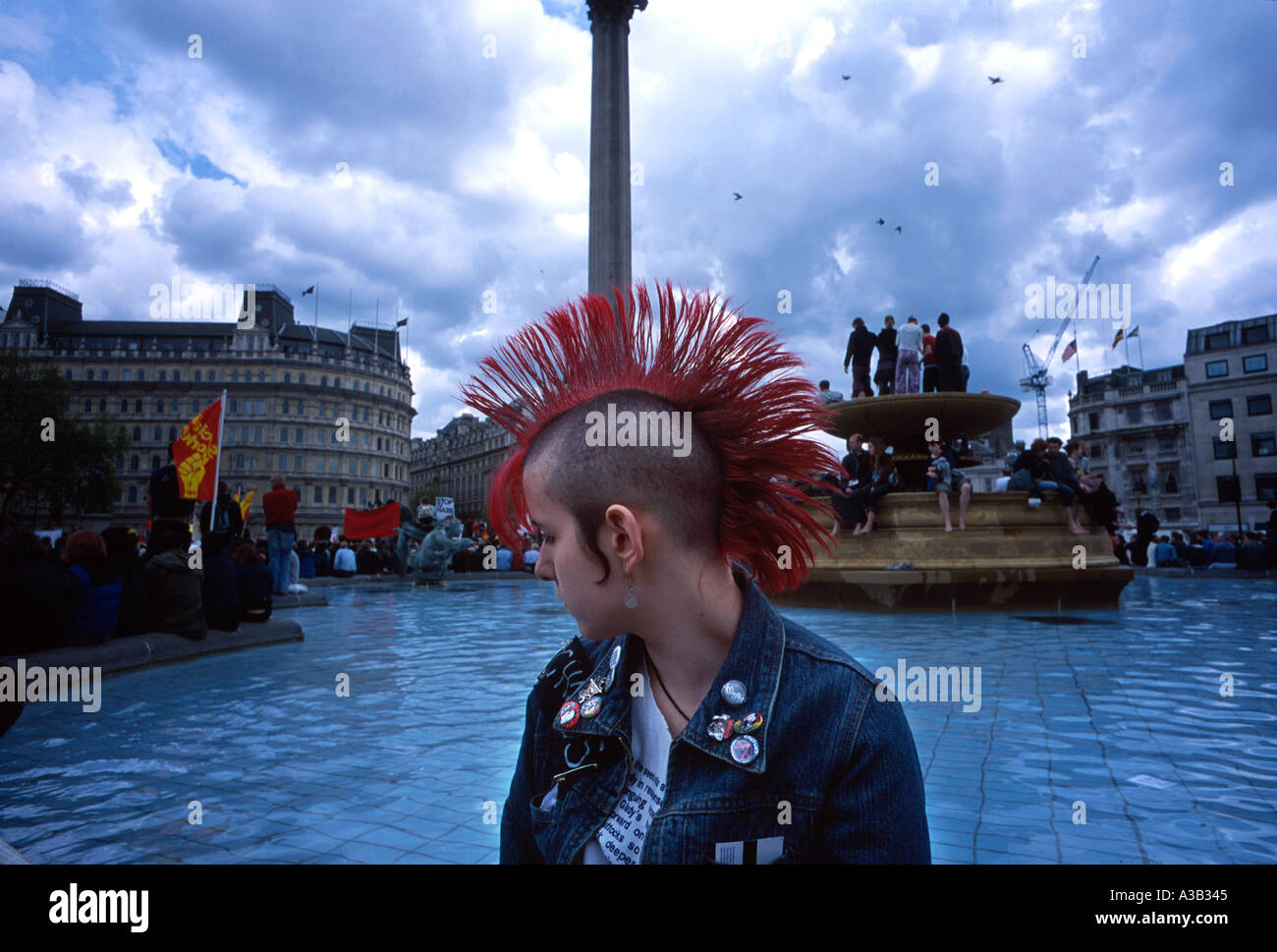 Young girl punk in Trafalgar Square London Britain England UK - Stock Image