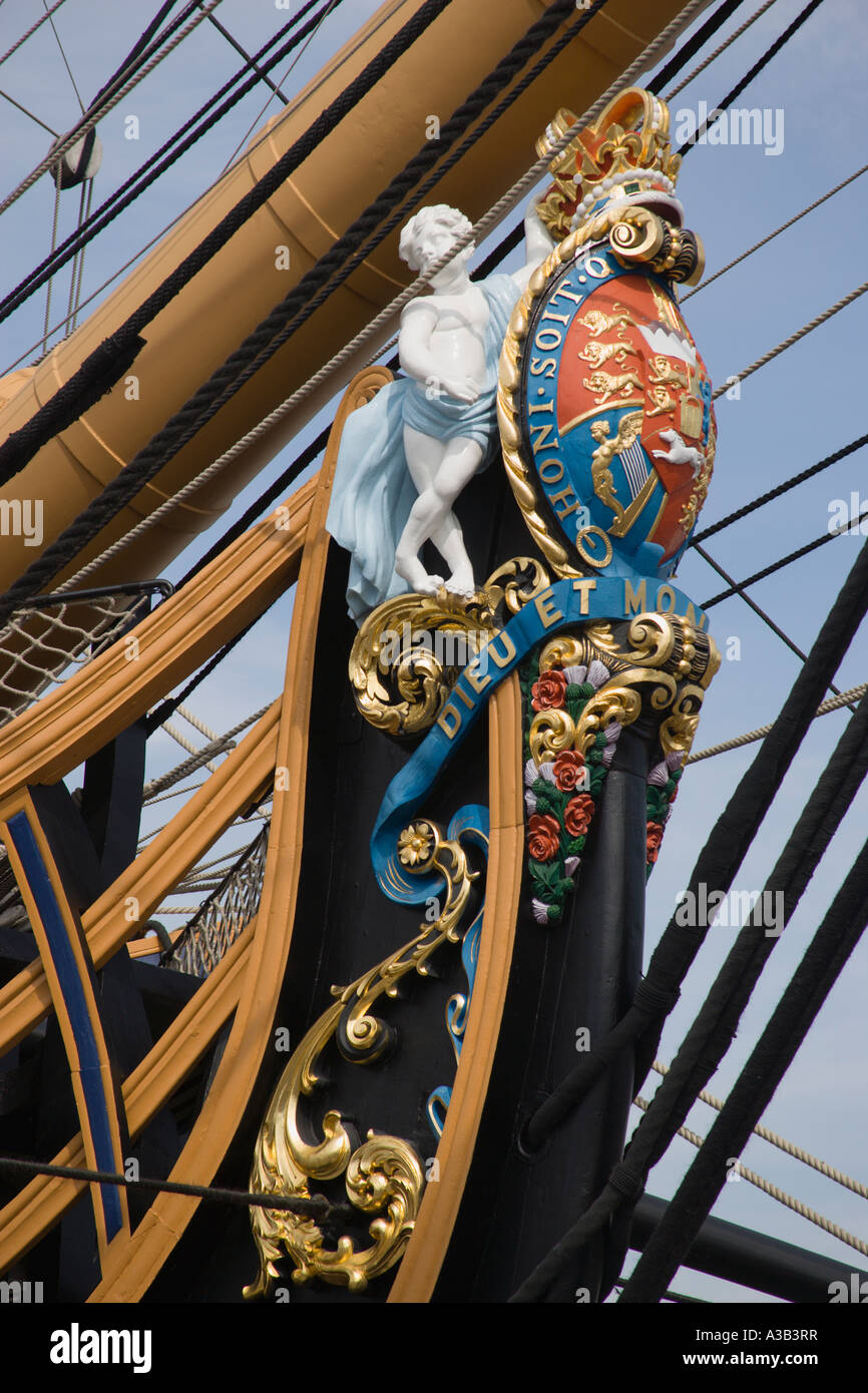 ENGLAND Hampshire Portsmouth The bow of HMS Victory in the Historic Dockyard showing the bow figurehead with Royal - Stock Image