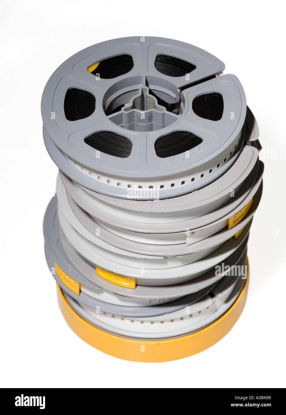 Stack of amateur 8mm cine film reels - Stock Image