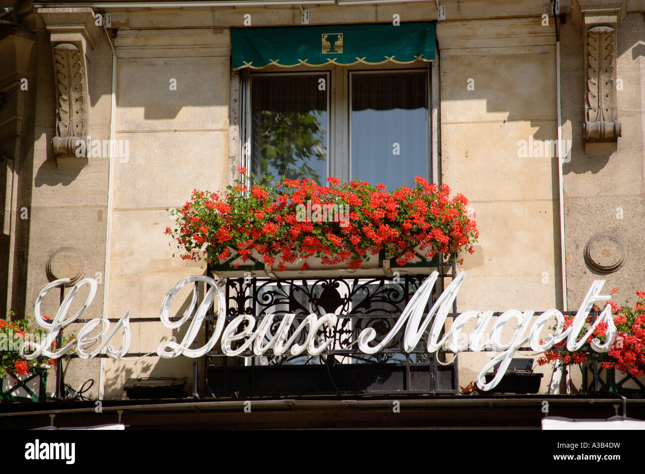 FRANCE Ile de France Paris Left Bank Place St Germain des Pres Les Deux Magots famous literary cafe frequented by - Stock Image