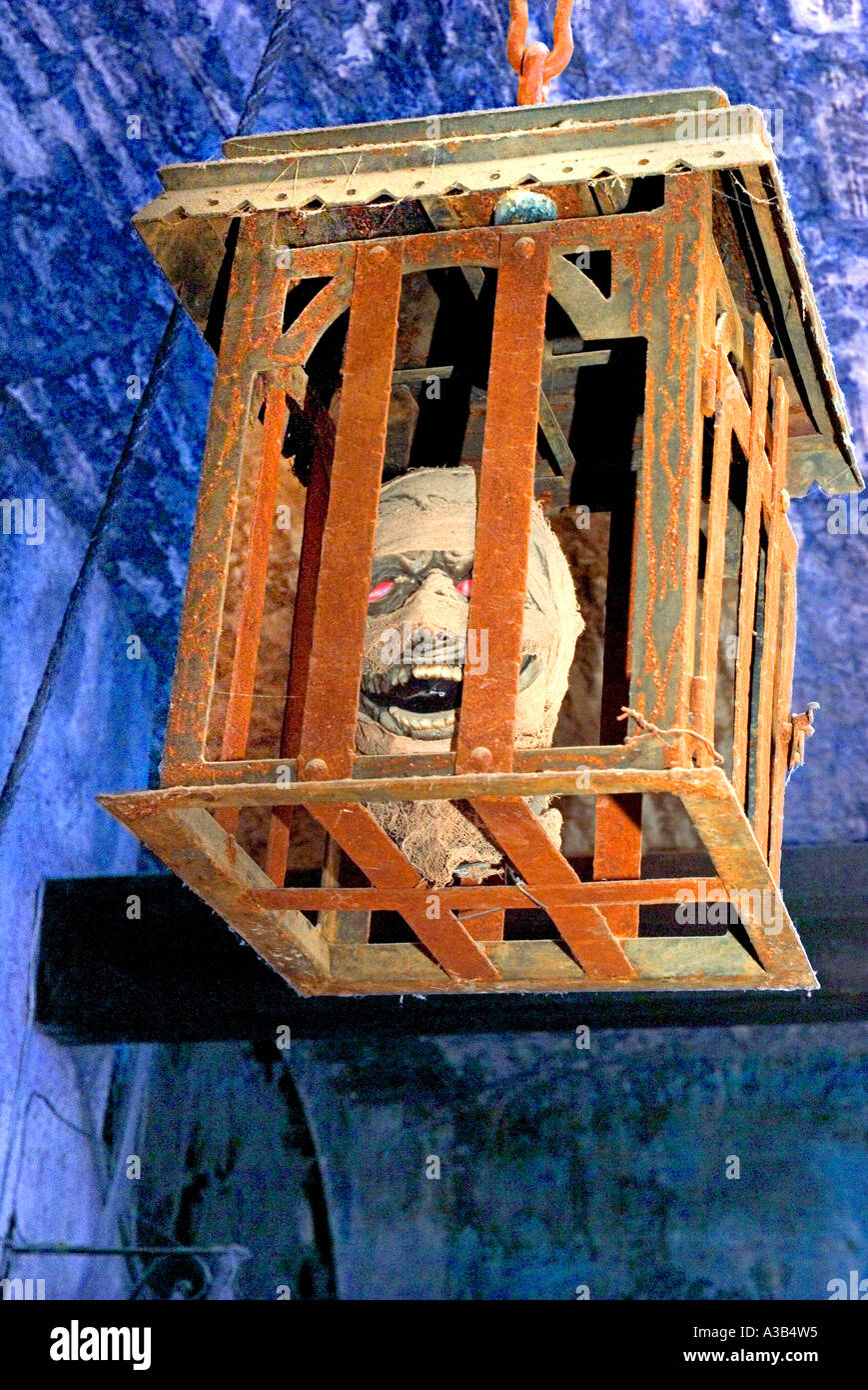 Head in a cage hanging from the ceiling of a torture chamber in the Museum of the Inquisition Guanajuato Mexico - Stock Image