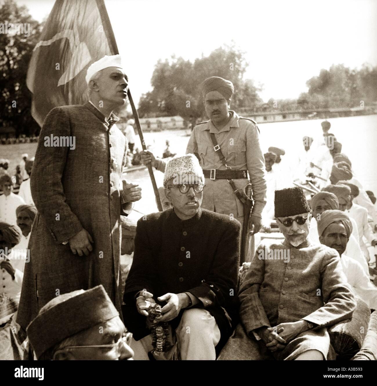 Jawaharlal Nehru with Sheikh Abdullah and Maulala Abul Kalam Azad in Kashmir Jammu Kashmir India - Stock Image
