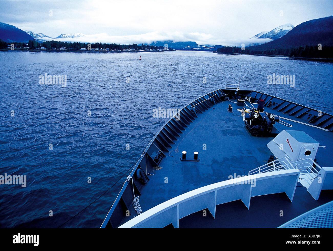 ship,ships,deck,boat head,lake,scene,landscape,sce - Stock Image
