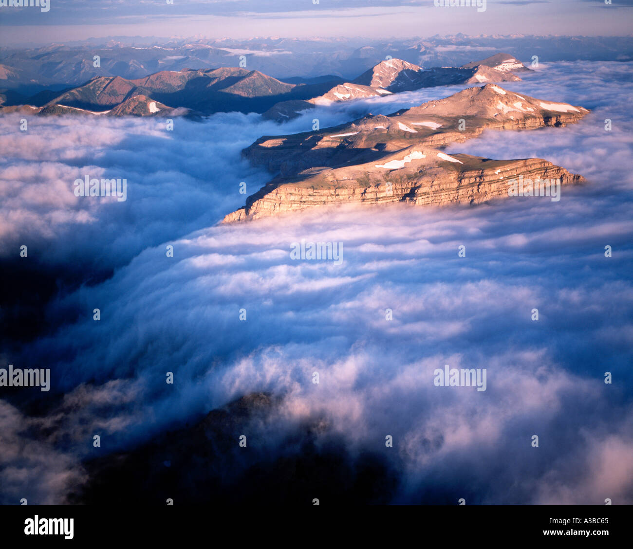 Fog Continental Divide Peaks Bob Marshall Wilderness Montana - Stock Image