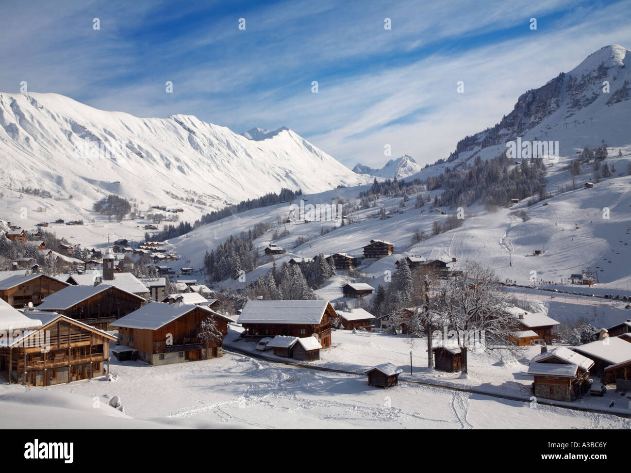 winter at le chinaillon the ski resort of le grand bornand haute
