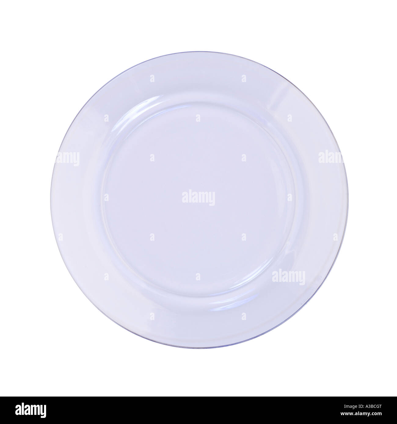 Clear Glass plate on white seamless - Stock Image
