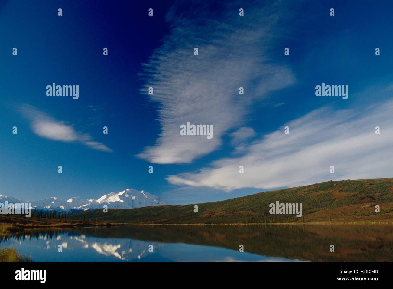 Cirrus Clouds Over Mt McKinley Wonder Lake AK IN Denali NP Summer - Stock Image