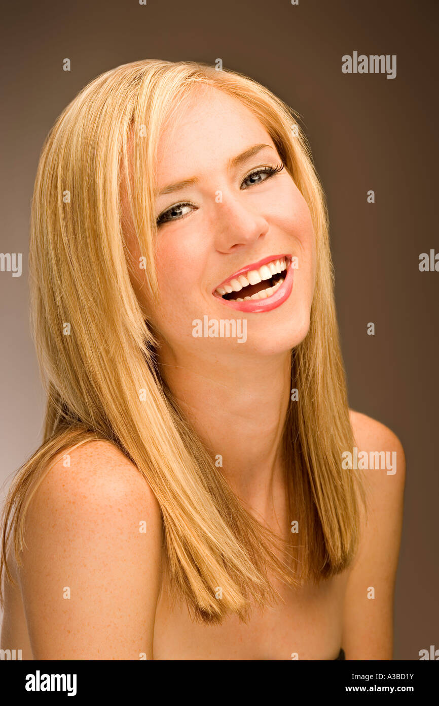 Laughing 20-30 year old woman Stock Photo