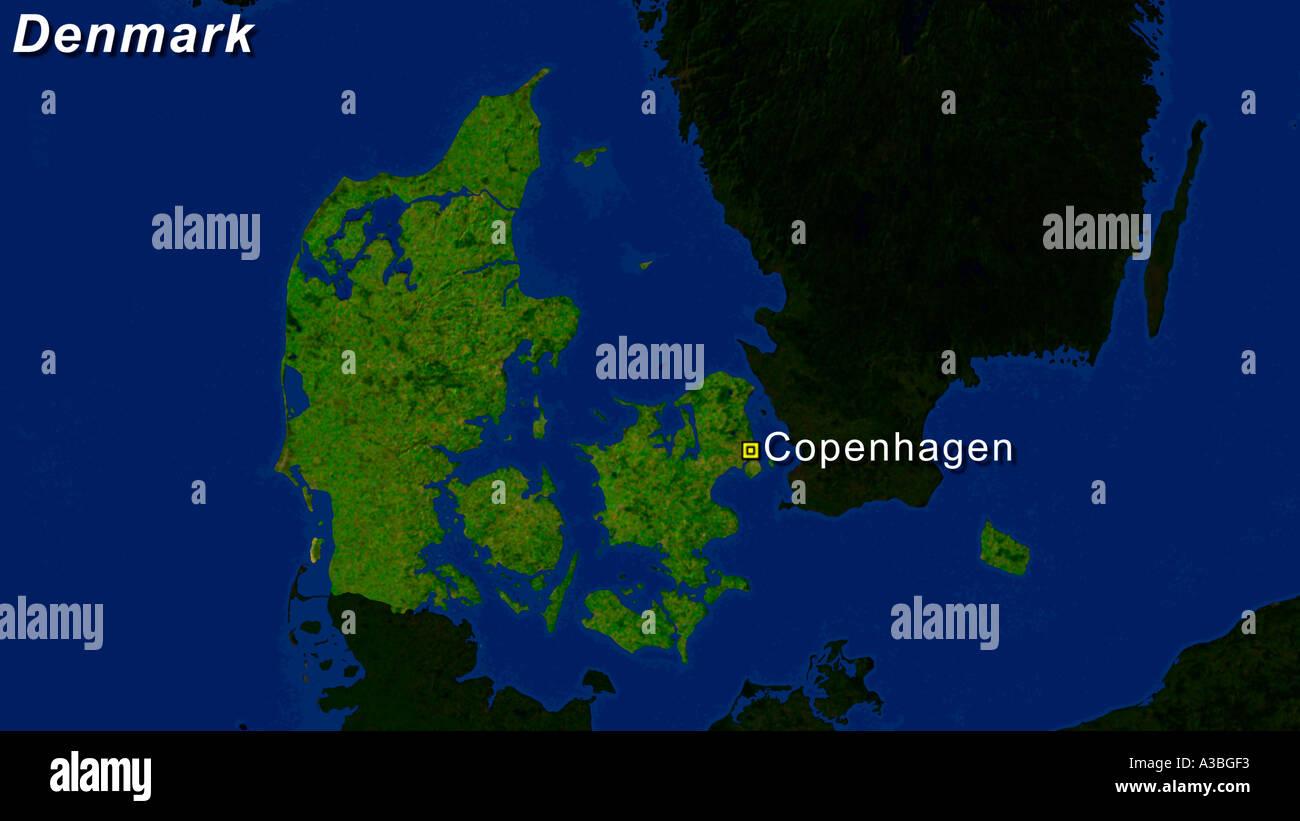Satellite Image Of Denmark With Copenhagen Highlighted - Stock Image