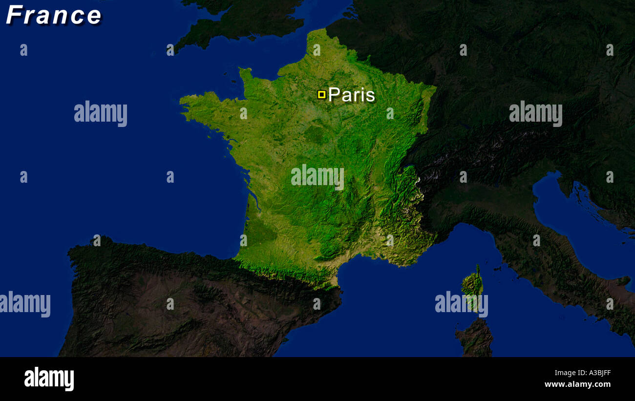 Map Of France With Paris Highlighted.Satellite Image Of France With Paris Highlighted Stock Photo