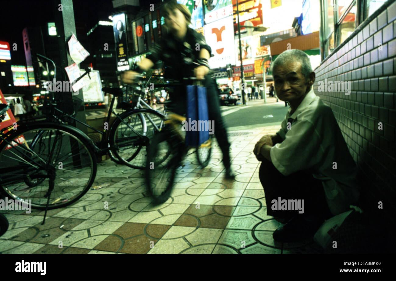 Homeless man in Osaka, Japan - Stock Image