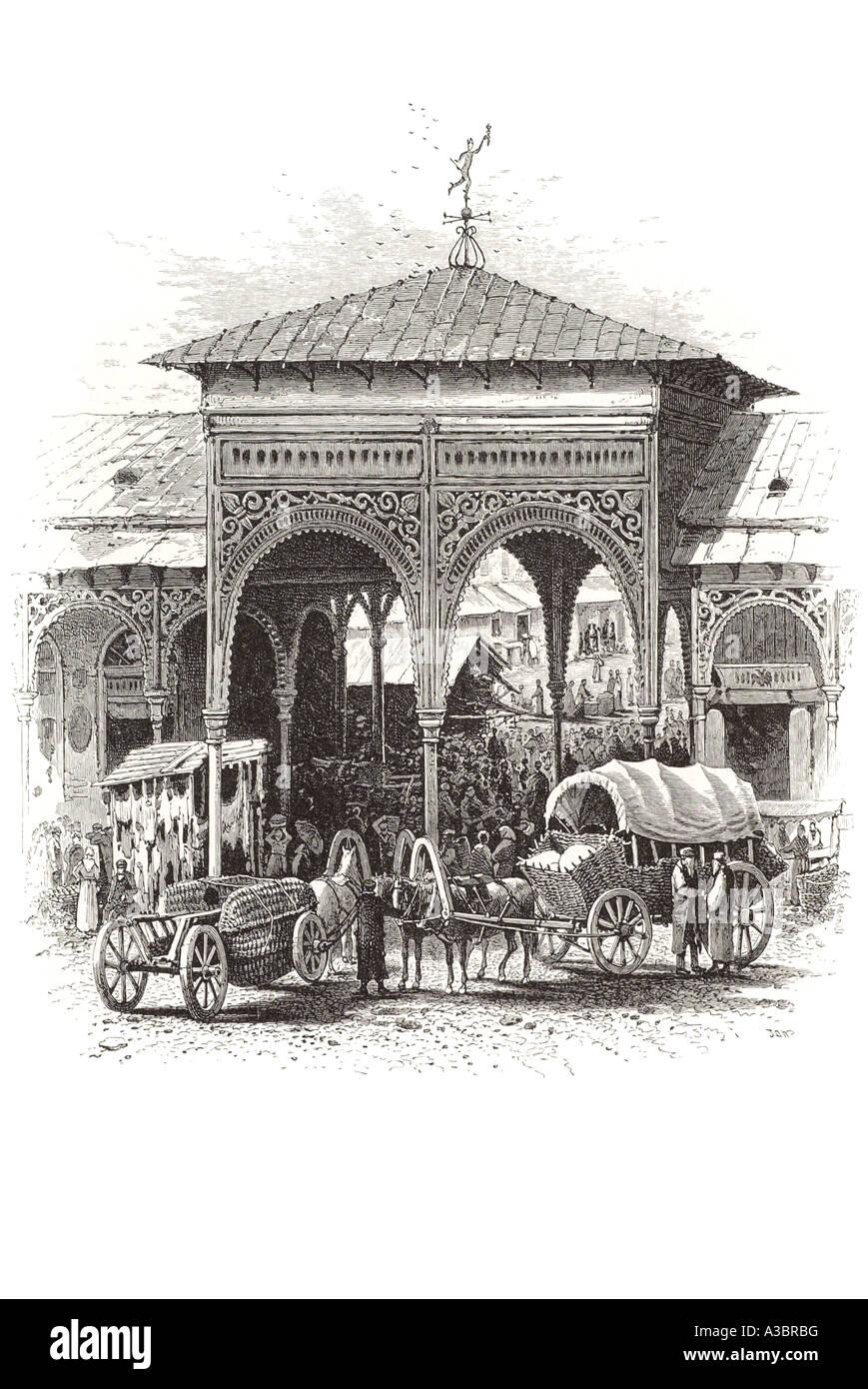 Jewish jew  trade bazaar horse cart wagon Poland Europe gateway ornate arch square wood wooden entrance polski Warszawa - Stock Image