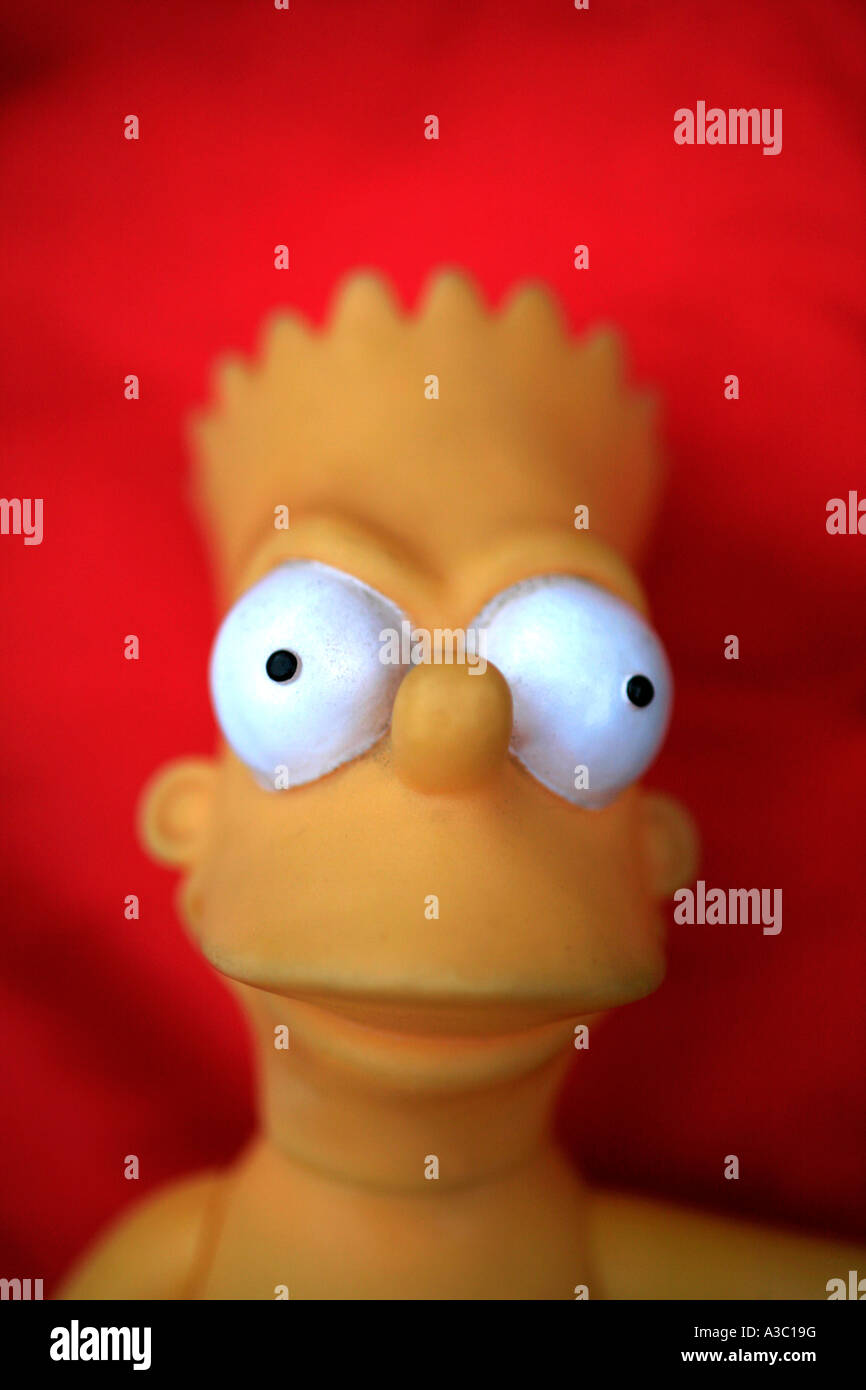 Bart Simpson with red background - Stock Image