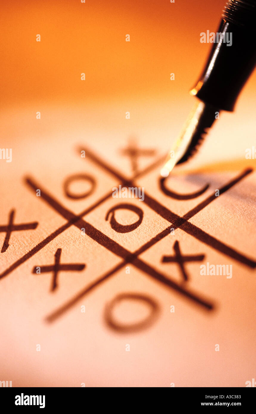 Stalemate at noughts and crosses - Stock Image