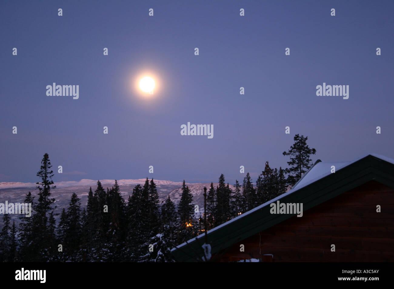 Moonshine in Lillehammer - Stock Image