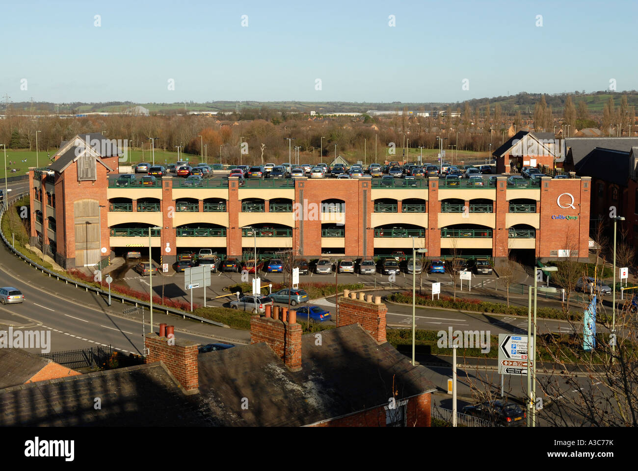 The Castle Quay shopping centre and car park in Banbury Oxfordshire England - Stock Image