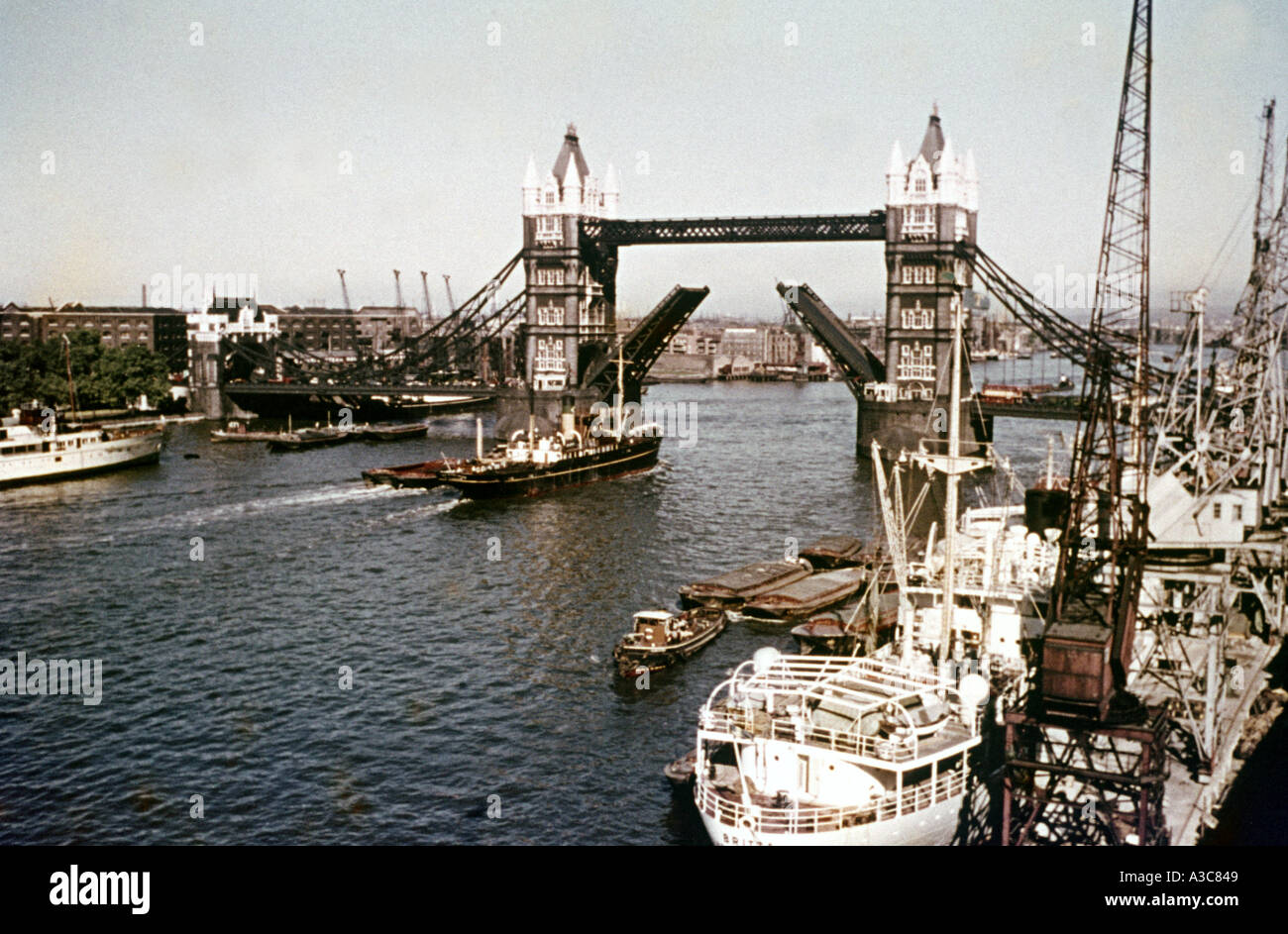 1950 s early 1960 s view of Tower Bridge london - Stock Image