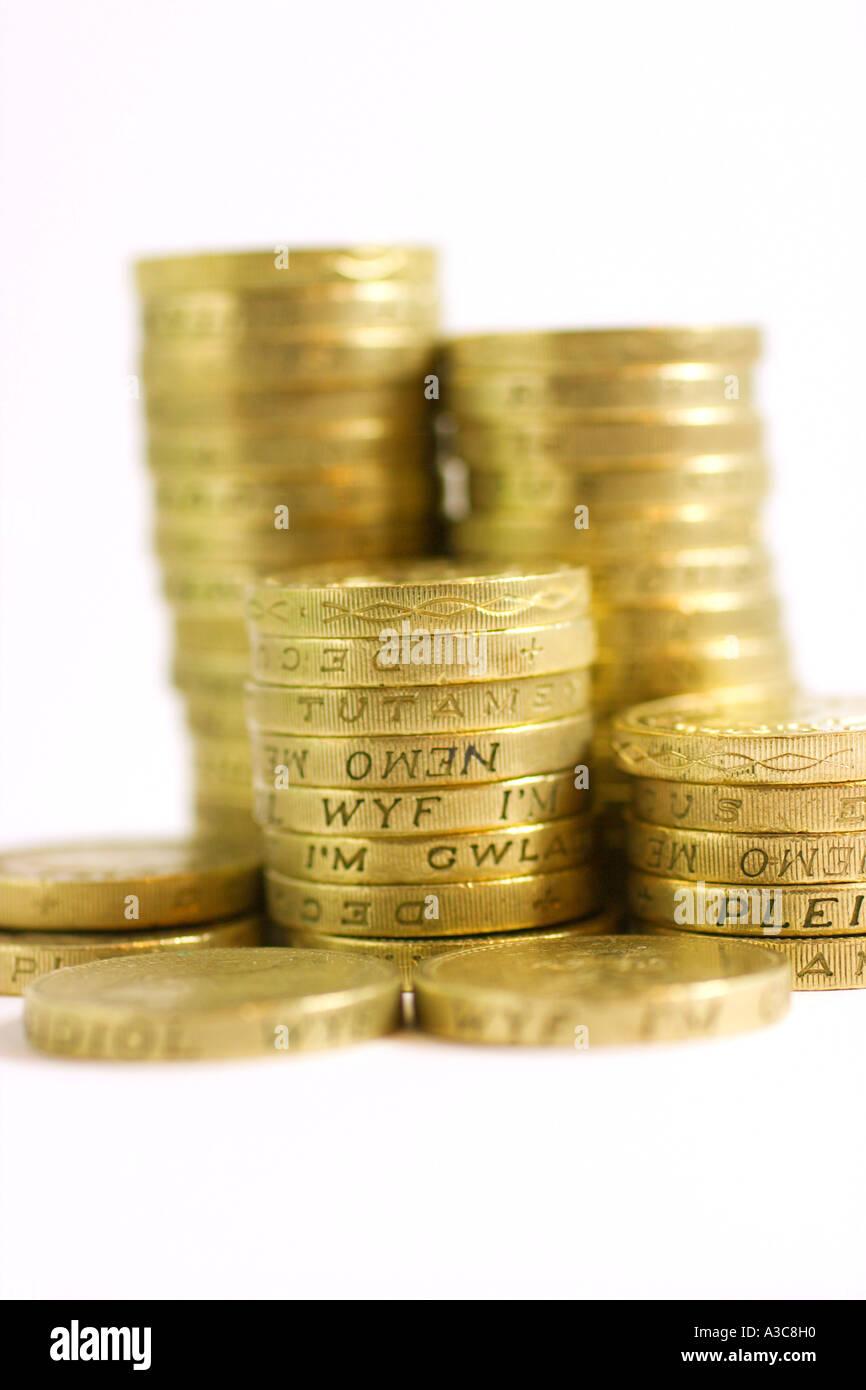 Stacks of British pound coins - Stock Image