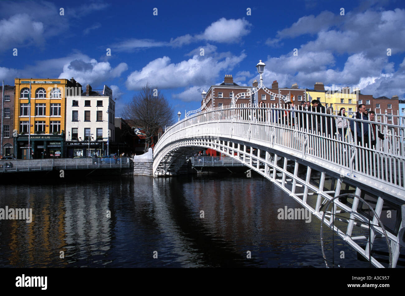 The Ha'penny Bridge on the River Liffey Dublin Ireland - Stock Image