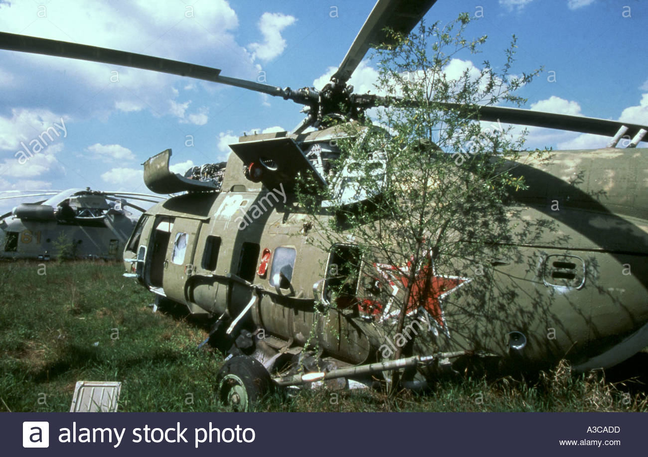Abandoned helicopter Chernobyl Ukraine 28 4 2000 following nuclear disaster in 1986 - Stock Image