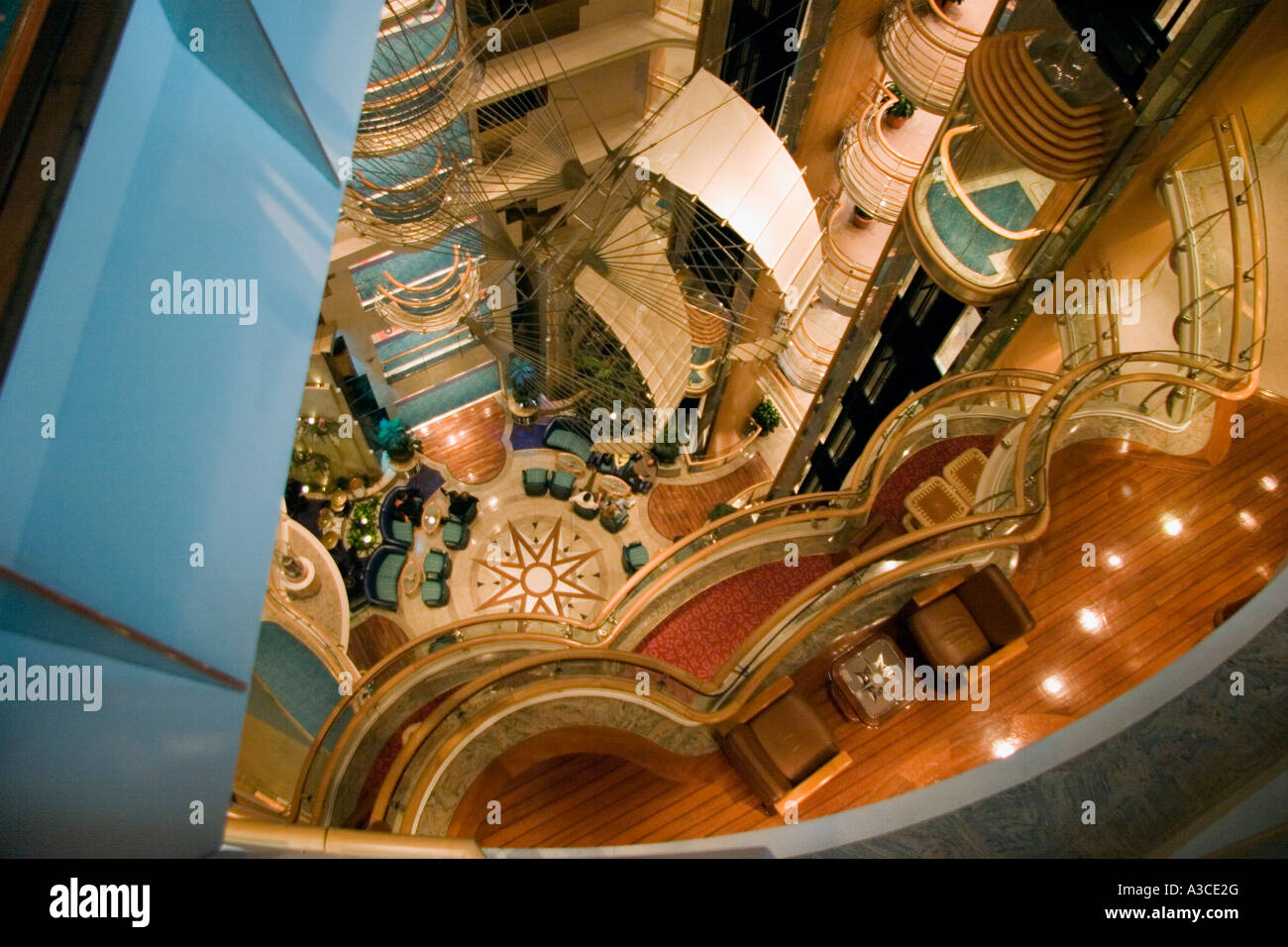 Top high view of interior shot of the Radiance of the Seas cruise ship - Stock Image