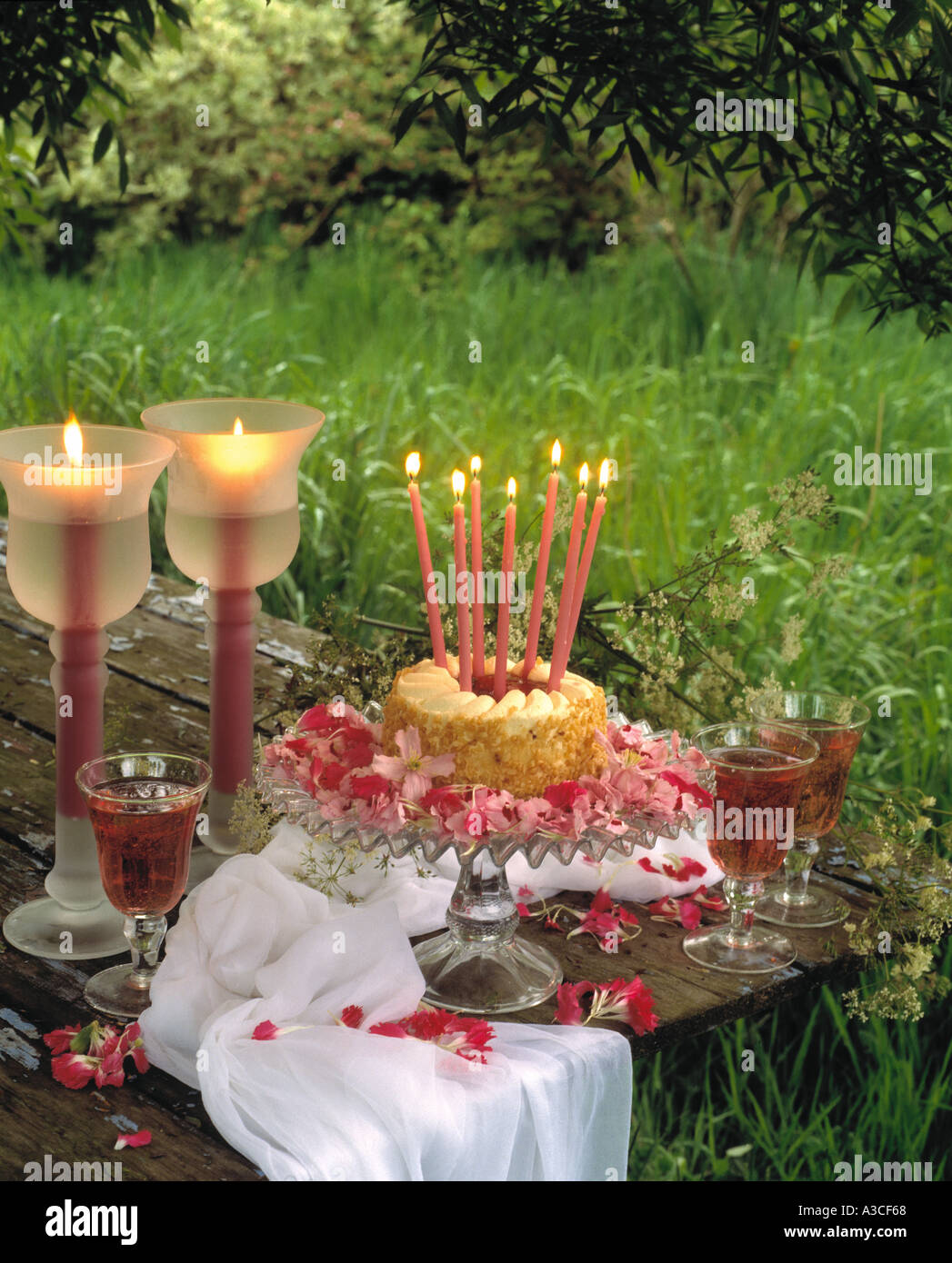 Tall Lighted Candles On Birthday Cake Glass Stand Beside In Glasses Garden Table
