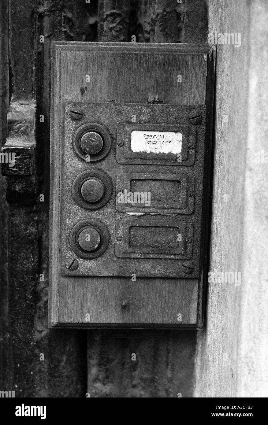 Old door bell pushes on london flats about to be demolished - Stock Image