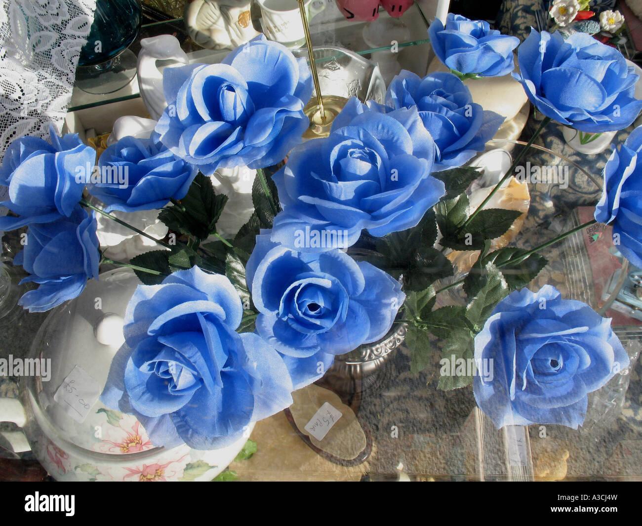 Blue paper flowers charity shop window cornwall uk stock photo blue paper flowers charity shop window cornwall uk mightylinksfo