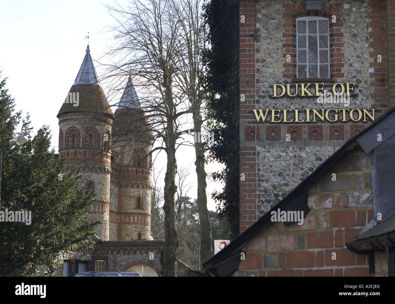 the Duke of Wellington pub and the entrance to Horsley Towers East Horsley Surrey - Stock Image