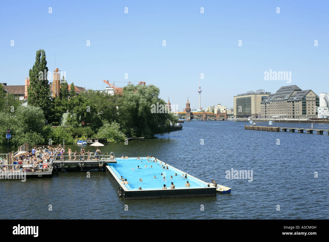 a pool ship in the spree germany berlin stock photo 10744576 alamy. Black Bedroom Furniture Sets. Home Design Ideas