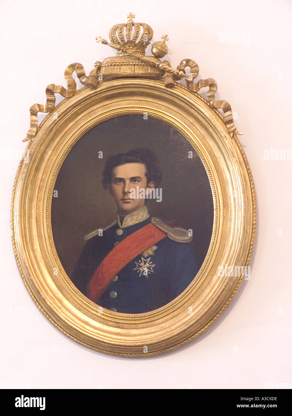 Portrait of King Ludwig II the second bavaria bayern kingdom german germany europe noble picture  - Stock Image